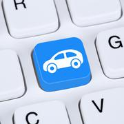 Internet concept selling or buying a car online button on the computer Stock Illustration