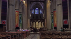 Stock Video Footage of Washington DC National Cathedral main chapel altar 4K 024