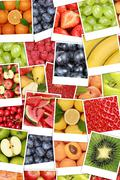 Vegan and vegetarian fruits background with apples, oranges, lemons - stock photo