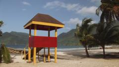Colorful Lifeguard Tower in Trinidad Stock Footage