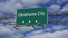 4K Animated highway road sign of Oklahoma City Stock Footage
