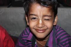 Young boy smiled in a village in India - stock photo