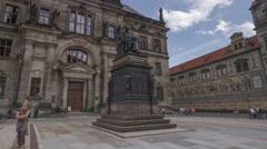 Hyperlapse Castle Square Dresden Germany - Motion Timelapse Stock Footage