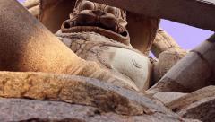 Ugra Narasimha massive deity in Hindu temple low tracking shot 2 Stock Footage