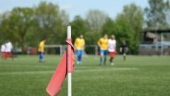 Soccer match and corner flag. Stock Footage