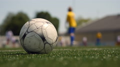 Soccer match, perspective shot. Stock Footage