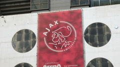 Ajax Amsterdam logo on south entrance Arena stadium. Stock Footage