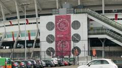 Ajax Amsterdam logo on Arena stadium. Stock Footage