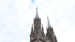 Catholic Church, tops of the steeples Stock Footage