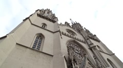 Neogothic church of Saint Gerhard, low angle shot Stock Footage