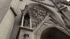Rose window above the catholic church entrance Stock Footage