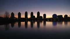 False Creek Vancouver Skyline, Winter Sunrise Stock Footage