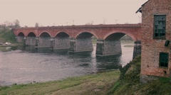 Old Bridge in Kuldiga Stock Footage