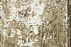 Wooden old wall with white paint is severely weathered - stock photo
