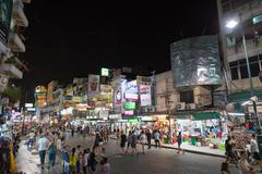 Khao San Road is centre of backpackers universe - stock photo
