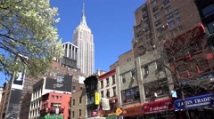 View of Empire State Building from 6th Avenue. NYC Stock Footage