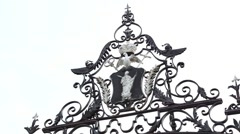 Coat of arms on the palace gate Stock Footage
