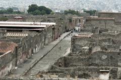 Top view the ancient city of Pompeii Stock Photos