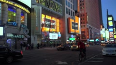 Road traffic at the intersection 42th St, 7 Ave at night. NYC - stock footage