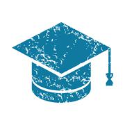 Grunge academic hat icon Stock Illustration