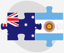 Australia and Argentina Flags in puzzle - stock illustration
