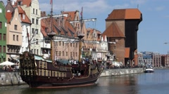 Touristic pirate ship on the Gdansk Old Town river - stock footage