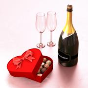 Chocolate box with a champagne and two glasses. Stock Illustration