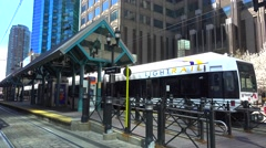 Train of Hudson–Bergen Light Rail system at the Exchange Place station. Stock Footage