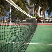 Outdoor tennis net at court with nobody Stock Photos