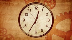 Ancient clock background. Passing time on old clock. Back to History Stock Footage