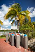 Scuba air tanks outdoors Stock Photos
