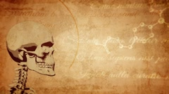 Vintage, ancient medical background with skull - stock footage
