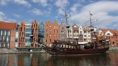 Touristic pirate ship on the Gdansk Old Town river Stock Footage