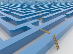 Maze Labyrinth 3D Render with Ladder and Planking Stock Illustration