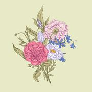 Stock Illustration of Gentle Retro Summer Floral Greeting Card, Vintage Bouquet, Vector illustration