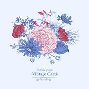Gentle Retro Summer Floral Greeting Card, Vintage Bouquet, Vector illustration - stock illustration