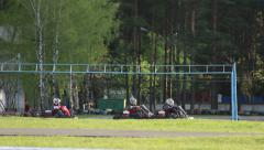 Karting, go karts on the track Stock Footage