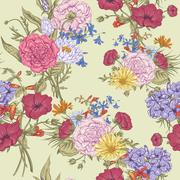 Gentle Retro Summer Seamless Floral Pattern, Vintage Greeting Bouquet, Vector - stock illustration