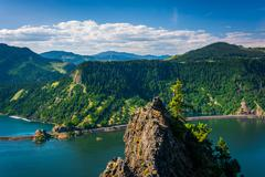 View of the Columbia River from Mitchell Point, Columbia River Gorge, Oregon. Stock Photos