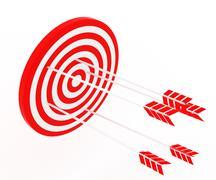 The arrow hit the target - stock illustration