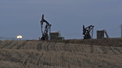 North Dakota Oil Pump Jack Fracking Crude Extraction Machine - stock footage