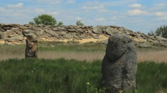 Stone idol of the Scythian Stock Footage