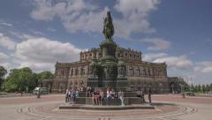 Hyperlapse Theatre Square Semperoper Dresden Germany - Motion Timelapse Stock Footage