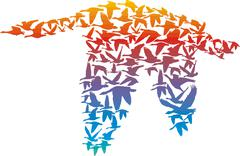 Rainbow Geese - stock illustration