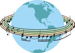 Rainbow music around the planet earth Stock Illustration
