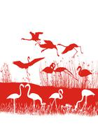 Red flamingos on the shore - stock illustration