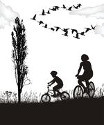Son and mother on bikes Stock Illustration