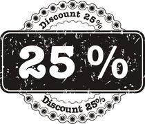Stamp Discount twenty five percent Stock Illustration