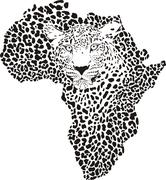 Symbol Africa in leopard camouflage - stock illustration