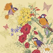 Vintage Floral Greeting Card with Birds and Butterflies - stock illustration